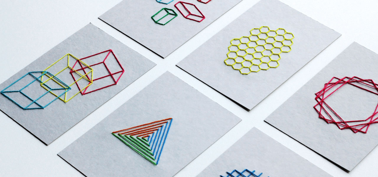 geometry embroidered postcard
