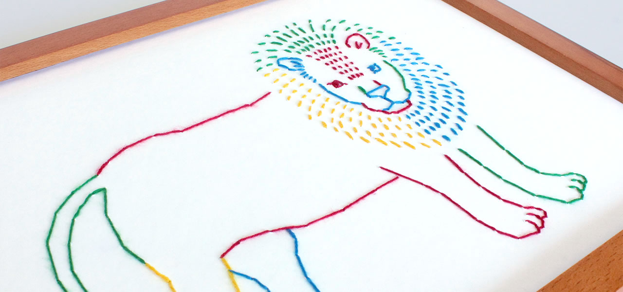 lion embroidered picture